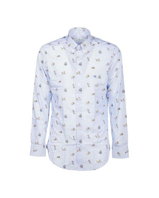 Etro Shirt Botton Down Logo Slim in het Blue voor heren