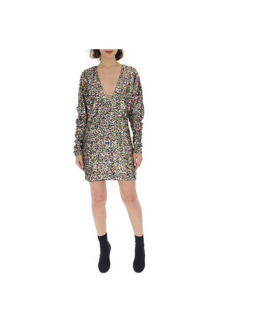 The Attico Sequin Embellished Mini Dress in het Brown