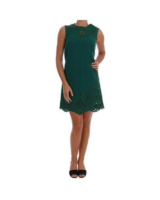 Floral Cutout Silk Wool Dress di Dolce & Gabbana in Green