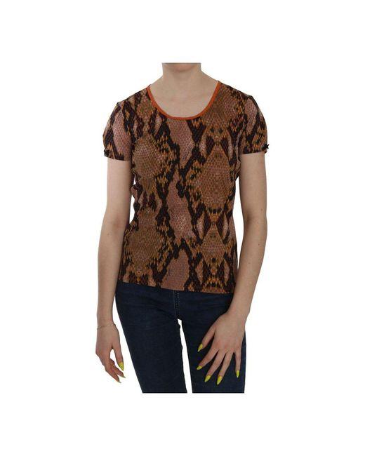 Just Cavalli Snake Skin Print Short Sleeve Top T-shirt in het Brown