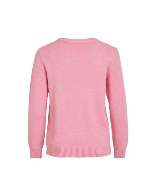 Viril O-Neck Knit TOP Rosa Vila de color Pink