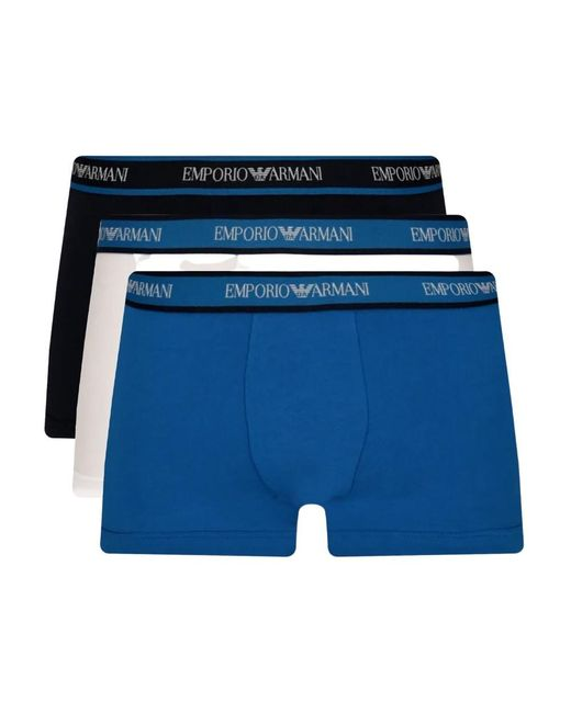 Emporio Armani Coffret De 3 Boxers Stretch in het Blue voor heren