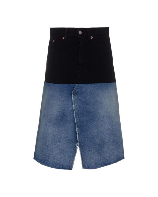 2Tone Denim Skirt di MM6 by Maison Martin Margiela in Blue