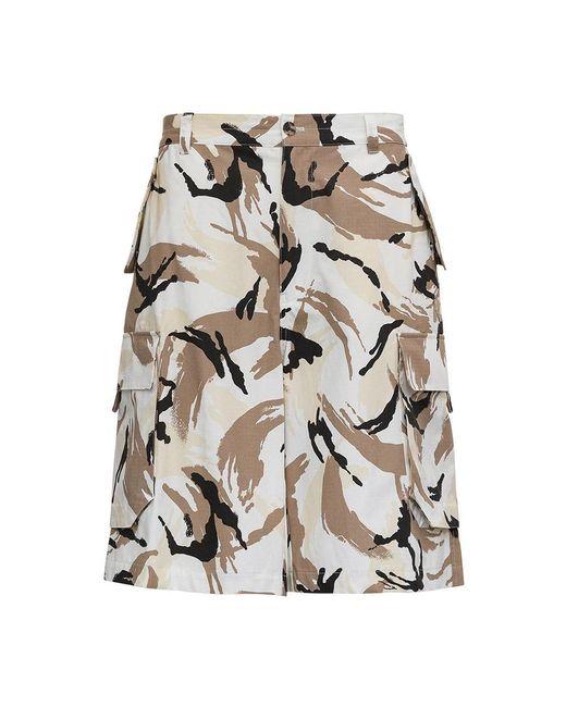 KENZO Camouflage Cotton Cargo Shorts in het Natural voor heren