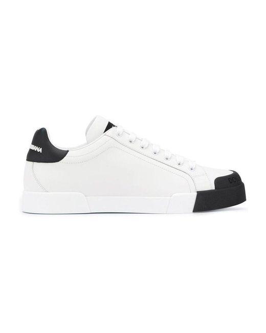 Dolce & Gabbana Portofino White Leather Sneakers