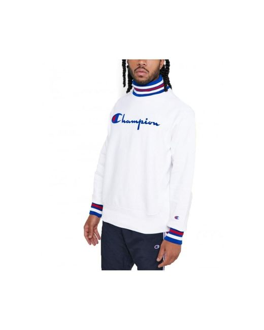Champion 213698 High Neck Sweatshirt in het White voor heren