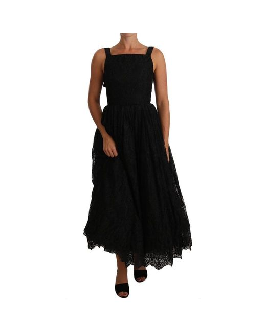 Ball Lace Floral Ruffle Dress di Dolce & Gabbana in Black