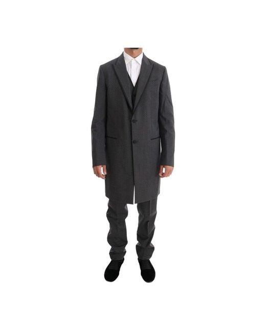 Dolce & Gabbana Long 3 Piece Twee Knop Pak in het Gray voor heren