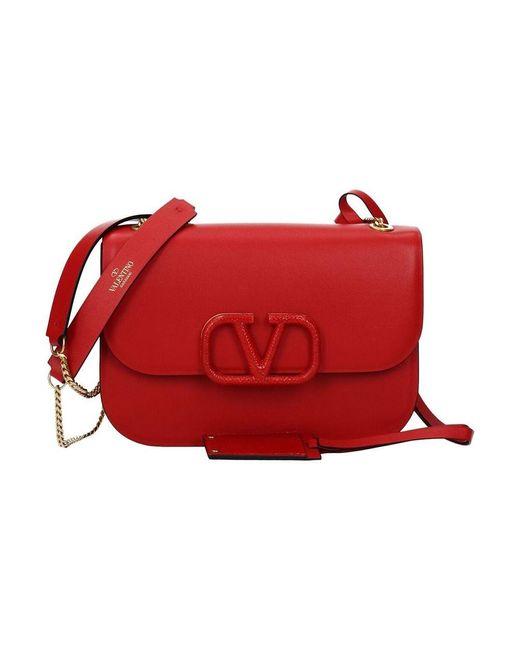 Valentino Garavani Borse A Spalla Pelle in het Red