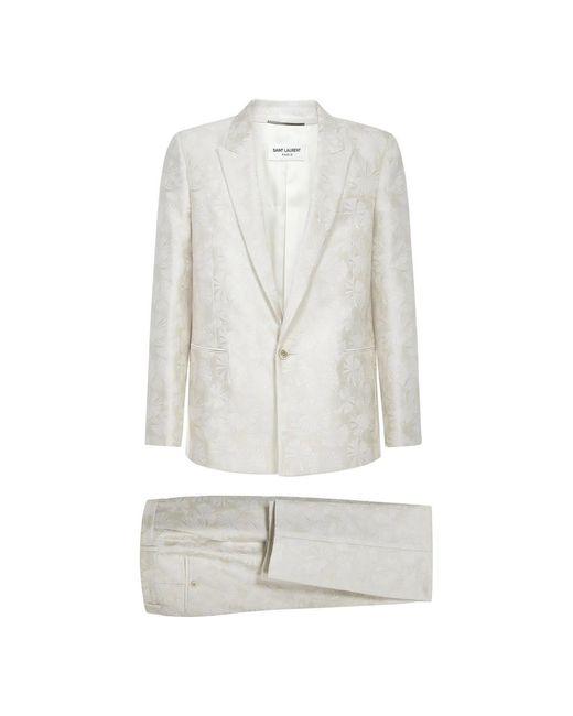 Saint Laurent Jacquard Tailored Pants With Parasol Motif in het Natural voor heren