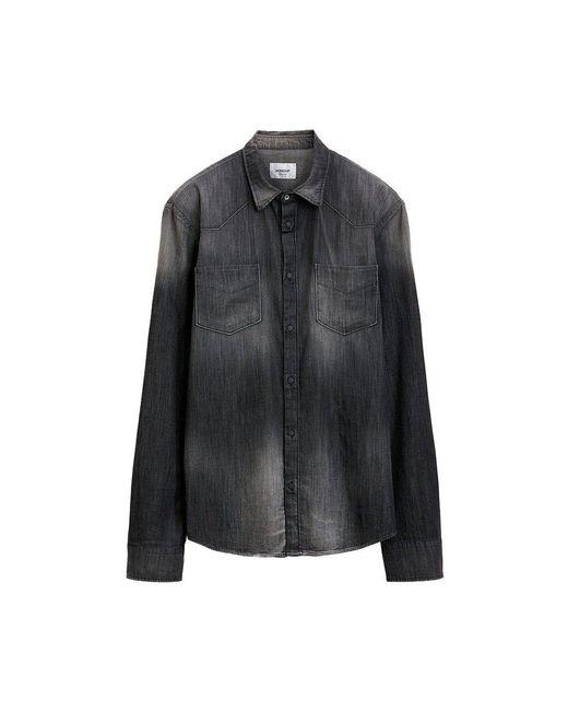 Dondup Camicia Denim Overhemd in het Gray voor heren