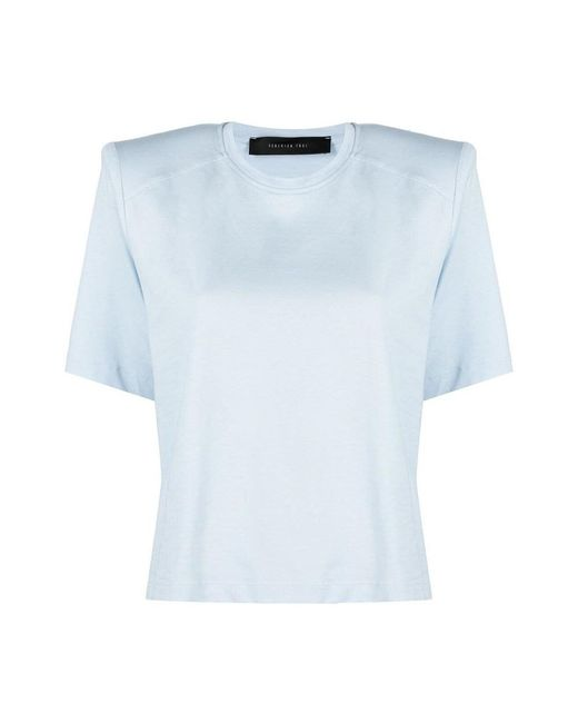 FEDERICA TOSI T-shirt With Padded Shoulders in het Blue