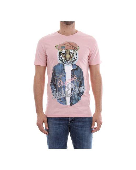 Jack & Jones Poll T-shirt in het Pink voor heren