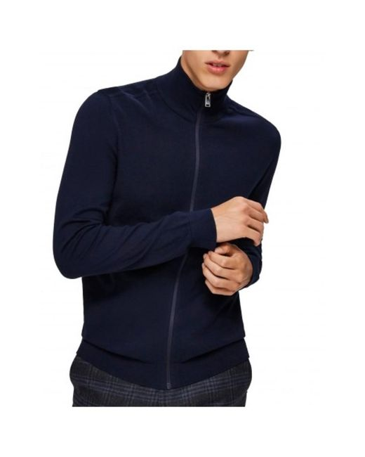 SELECTED Jersey Zip Slhberg in het Blue voor heren