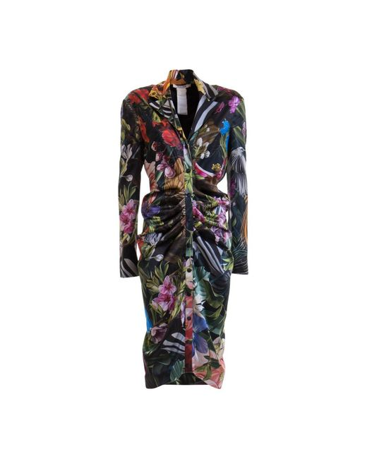 Jungle patterned shirt dress Roberto Cavalli en coloris Black