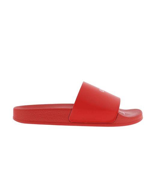 Off-White c/o Virgil Abloh Pool Slider Red White Flip Flops