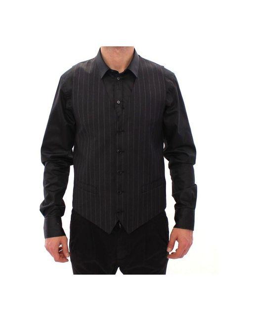 Dolce & Gabbana Gestreepte Logo Vest Gilet Weste in het Gray voor heren