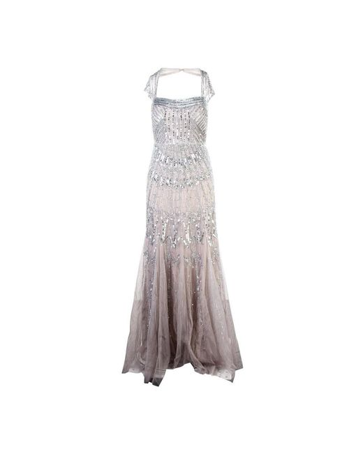 Adrianna Papell Full Length Sequins Gowns in het Gray