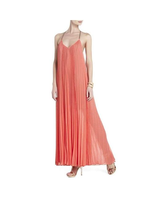 BCBGMAXAZRIA Edita Sunburst-pleat Maxi Dress M in het Orange
