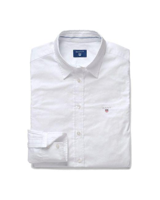 Gant Stretch Oxford Solid in het White