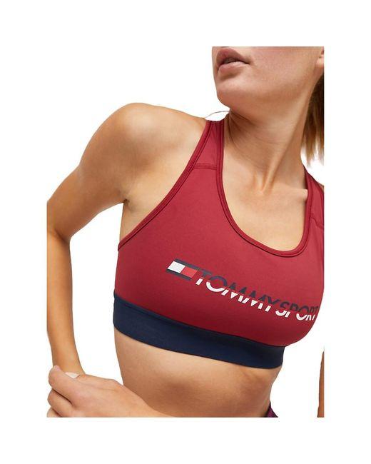 Tommy Sport S10S100072 Sports BRA Medium TOP AND Body Longwear Women RED di Tommy Hilfiger
