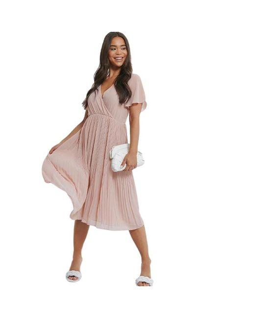 NA-KD Wrap Pleated Midi Dress in het Pink