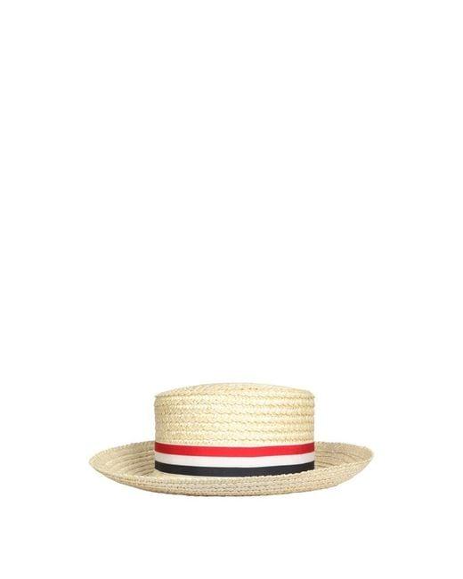 Thom Browne Boater Hat in het Natural