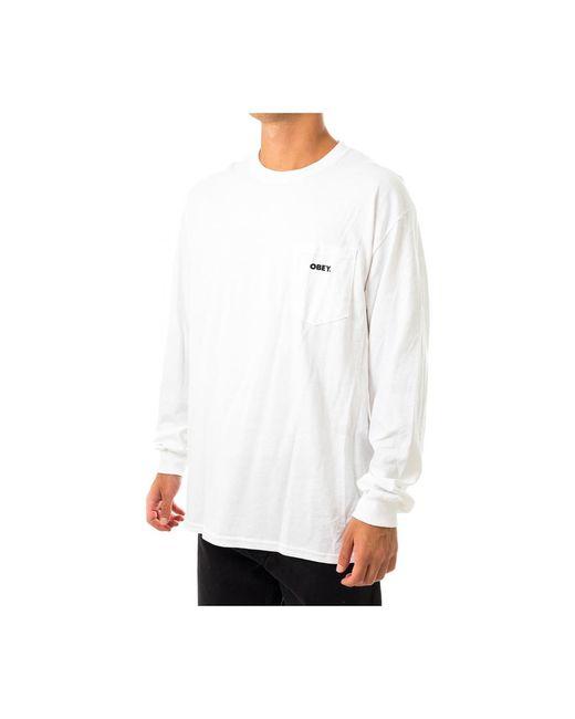 Obey T-shirt Man Bold Tee Ls 163272349.2100 in het White voor heren