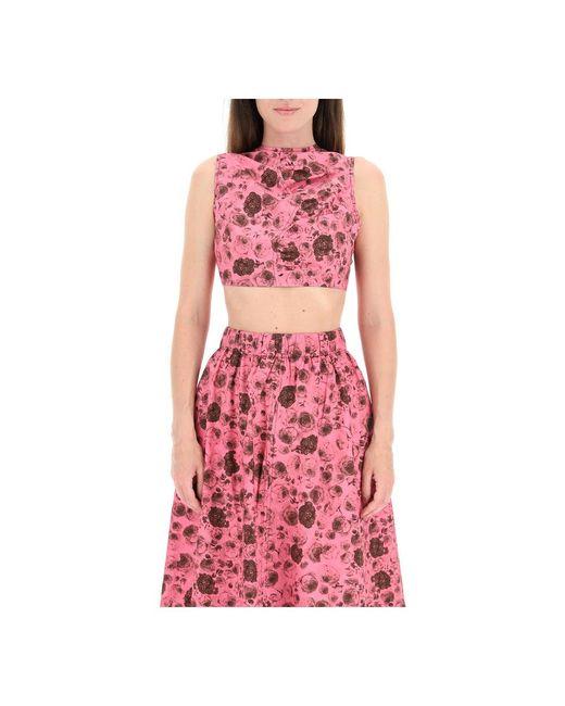 Top Ganni en coloris Pink