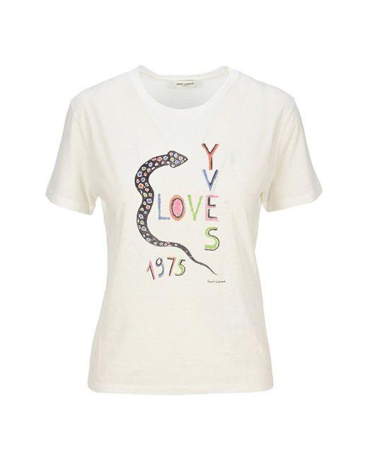 Saint Laurent T-shirt 614271ybrr2 in het White