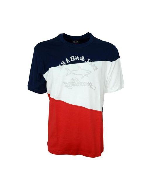 Paul & Shark Reflex Printed Logo Organic Cotton T-shirt 21411100 in het Red voor heren