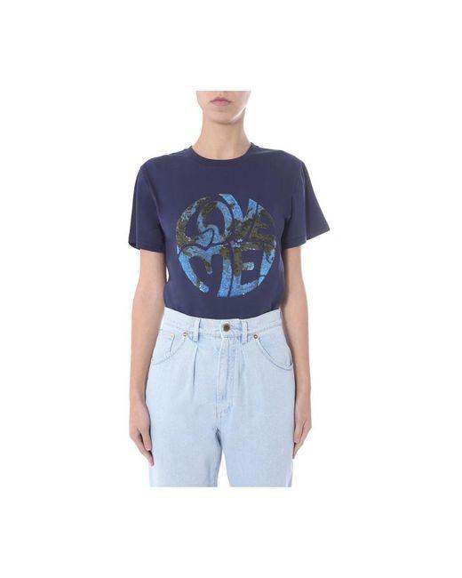 Alberta Ferretti Round Neck T-shirt in het Blue