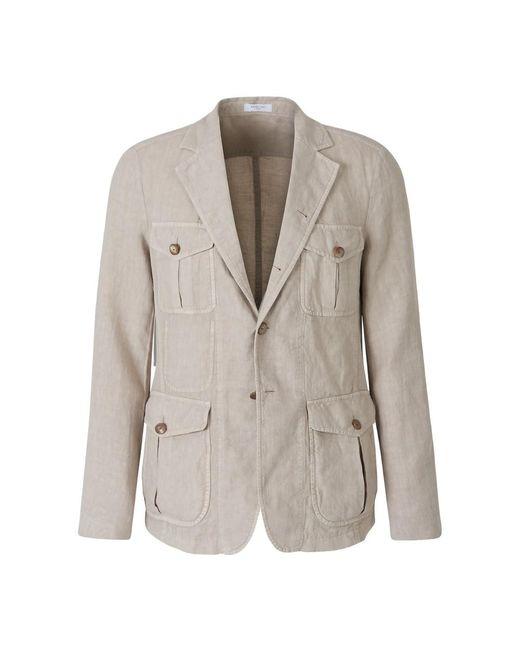 Boglioli Linen Safari Jacket in het Natural voor heren