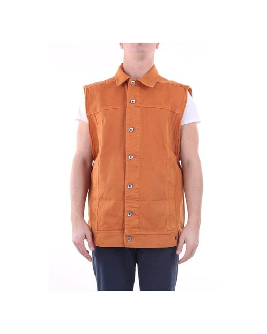 Du20S5764Do Denim jacket Rick Owens pour homme en coloris Orange