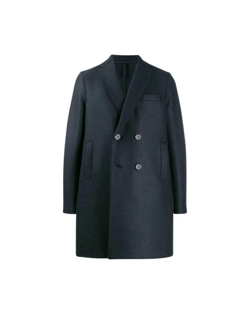 Harris Wharf London Double-breasted Coat in het Blue voor heren