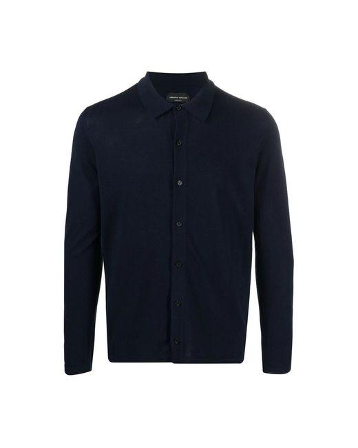 Roberto Collina Polo Shirt Long Sleeves in het Blue voor heren