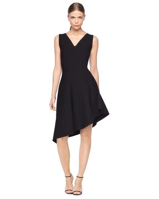 Asymmetric Drape Dress: Milly Asymmetrical Draped Dress In Black