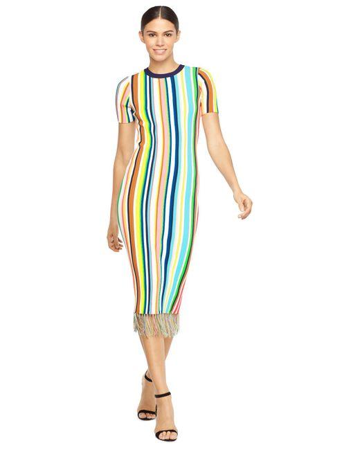 Milly Vertical Stripe Dress In Blue Lyst