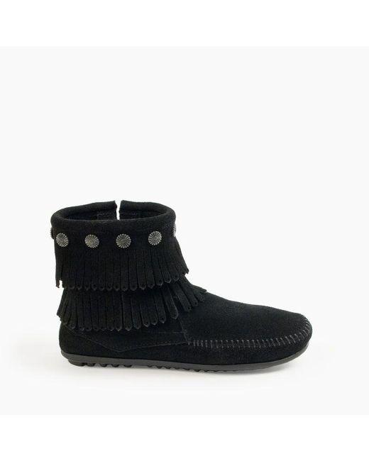 Minnetonka Black Double Fringe Side Zip Boot