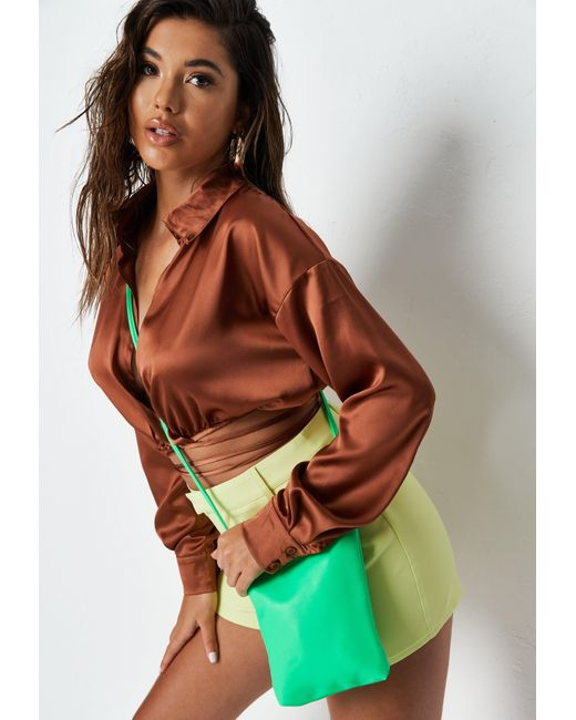 Missguided Neon Green Button Detail Cross Body Bag
