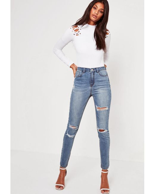 Missguided - Blue Sinner High Waisted Authentic Ripped Skinny Jeans - Lyst  ... 1ff8c0587463