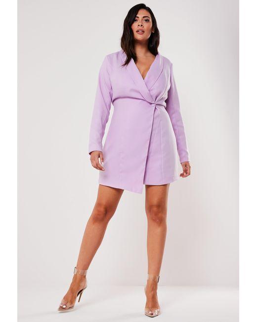 Plus Size Lilac Asymmetric Blazer Dress