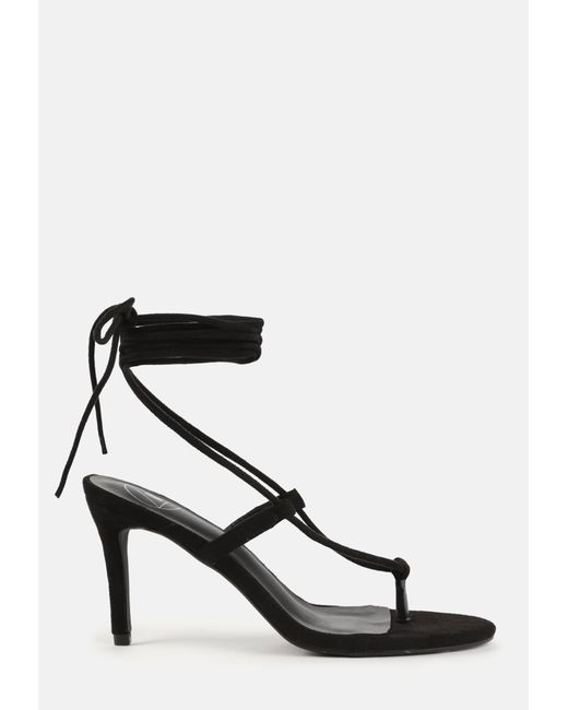 Missguided Black Faux Suede Tie Up Mid Heel Sandals