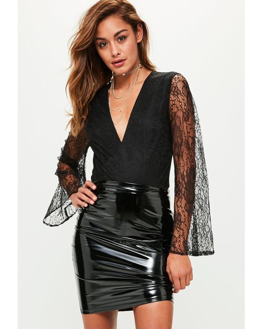 Missguided - Black Lace Plunge Flared Sleeve Bodysuit - Lyst