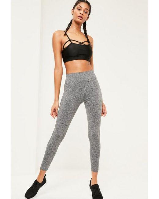 70b1466ea881d ... Missguided - Gray Active Grey Full Length Seamless Leggings - Lyst