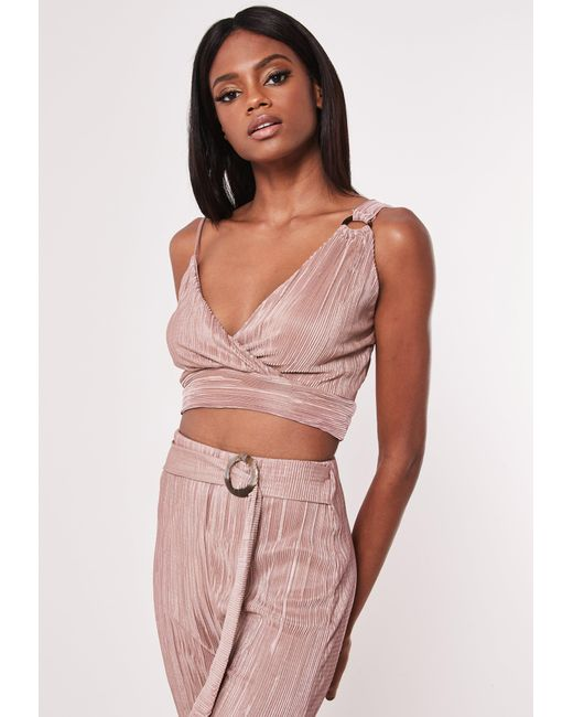 bf058ed07a6779 Missguided - Pink Rose Plisse Asymmetric Co Ord Bralet - Lyst ...