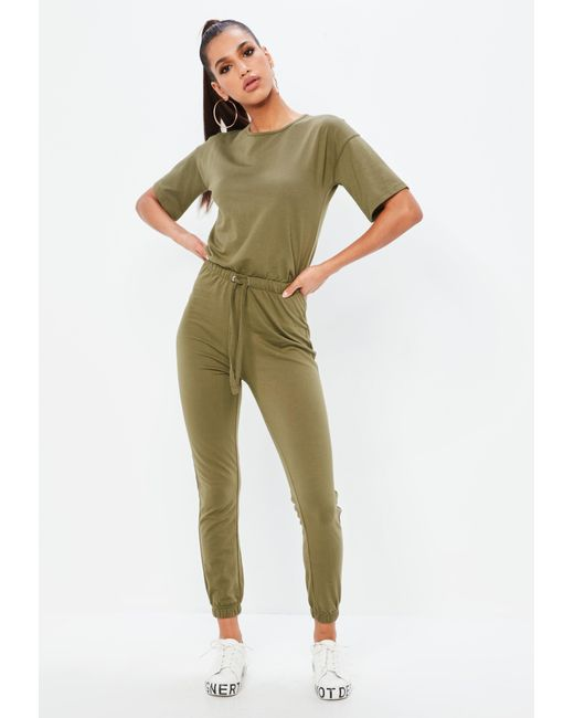 ae72153ce8a Missguided - Green Khaki Slouch Drawstring Short Sleeve Jumpsuit - Lyst ...