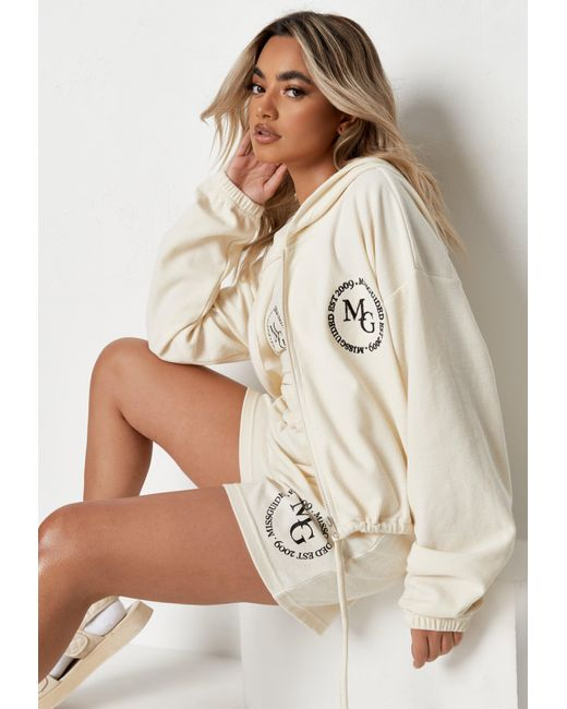 Missguided Natural Tall Waffle Embroidered Cropped Hoodie