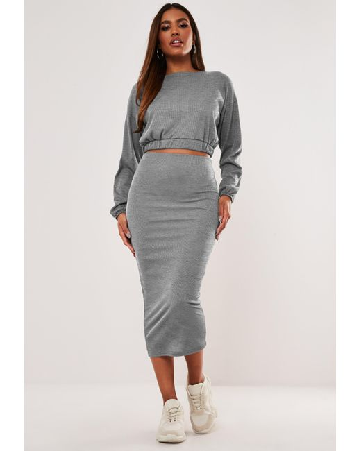 Missguided Gray Marl Rib Crop Top And Midaxi Skirt Co Ord Set