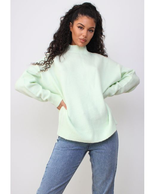 Missguided Green Mint Knit High Neck Oversized Sweater